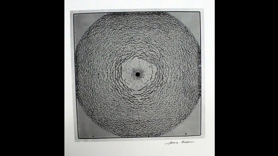 """Glass shattered by a bullet. """"The experience of seeing the unseen has provided me with insights and questions my entire life,"""" Edgerton once said. (Harold Edgerton Archive, MIT)"""