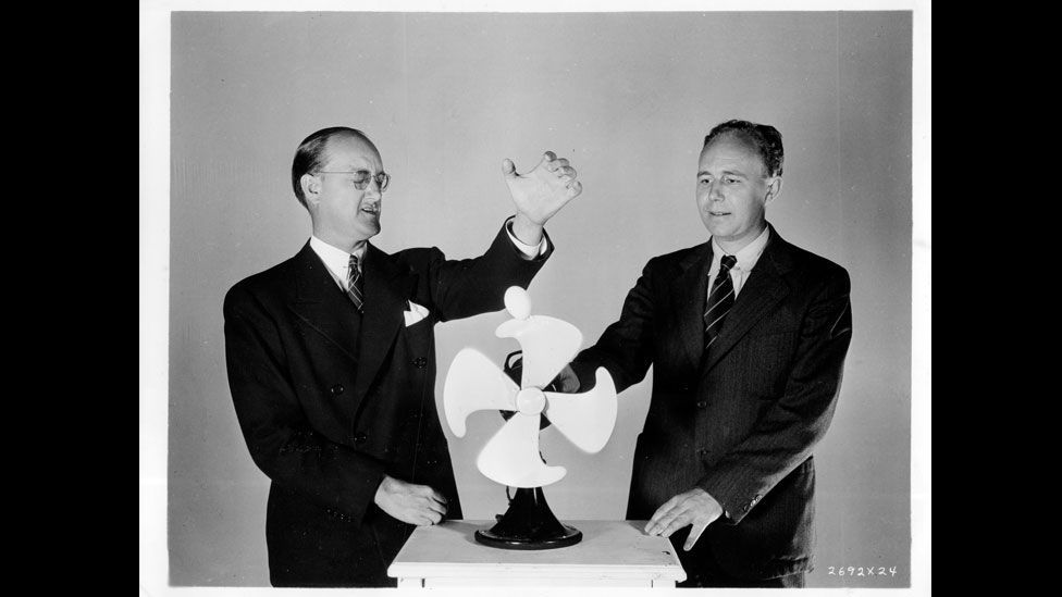 Edgerton (right) appeared in this image of an egg being dropped into the whirling blades of a fan... (Harold Edgerton Archive, MIT)