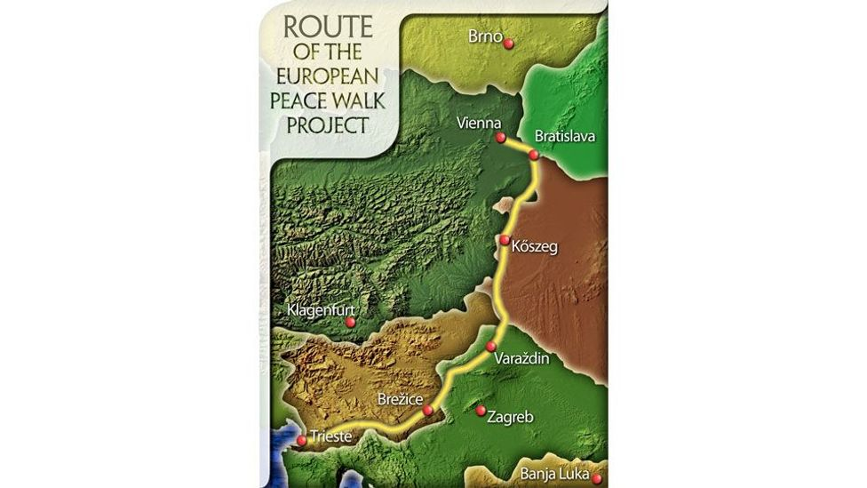 The route for Europe's first Peace Walk.