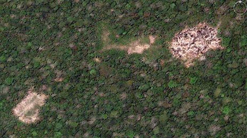 A satellite image of a remote village (Google/Rob Walker)