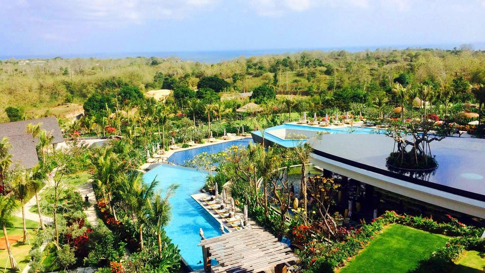 The Rimba Resort's multitiered pools are just one of the reasons the hotel is so popular (Ramsey Qubein).