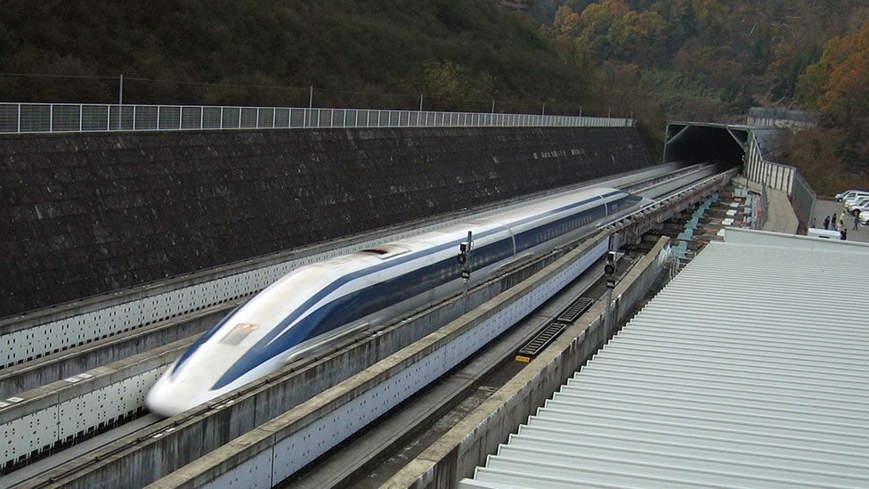 Maglev stands for 'magnetic levitation', where trains travel  above the rails using the power of strong magnetic forces (Yosemite / Wikipedia / CC BY-SA 3.0)