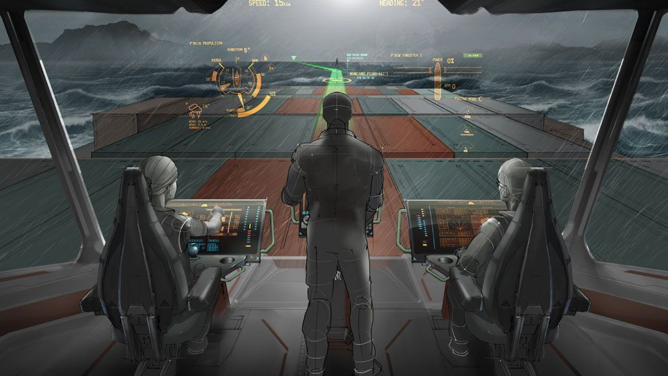 VTT and Rolls-Royce's concept could bring virtual reality to the bridges of container ships (VTT/Rolls-Royce)