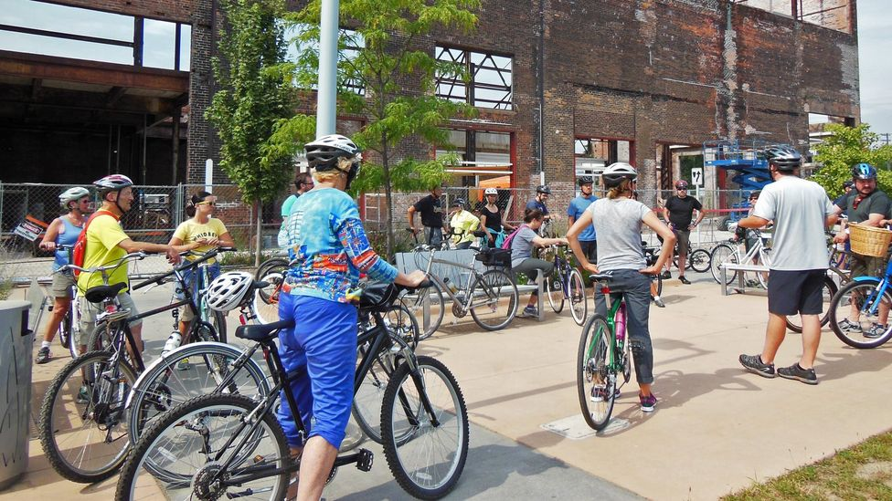 By bicycle, get up close and personal with Detroit's historic buildings. (Joe Baur)
