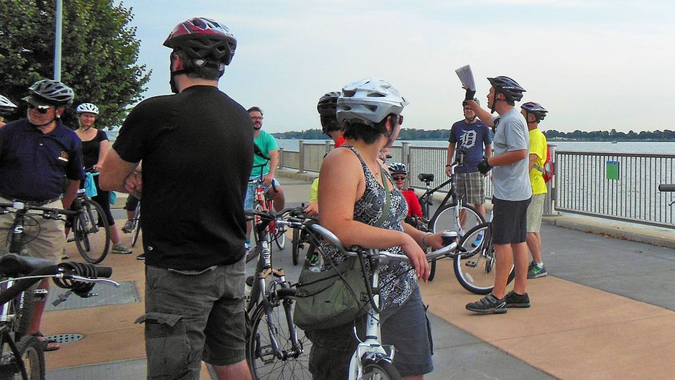 Taking a quick break at the Detroit River Walk. (Joe Baur)