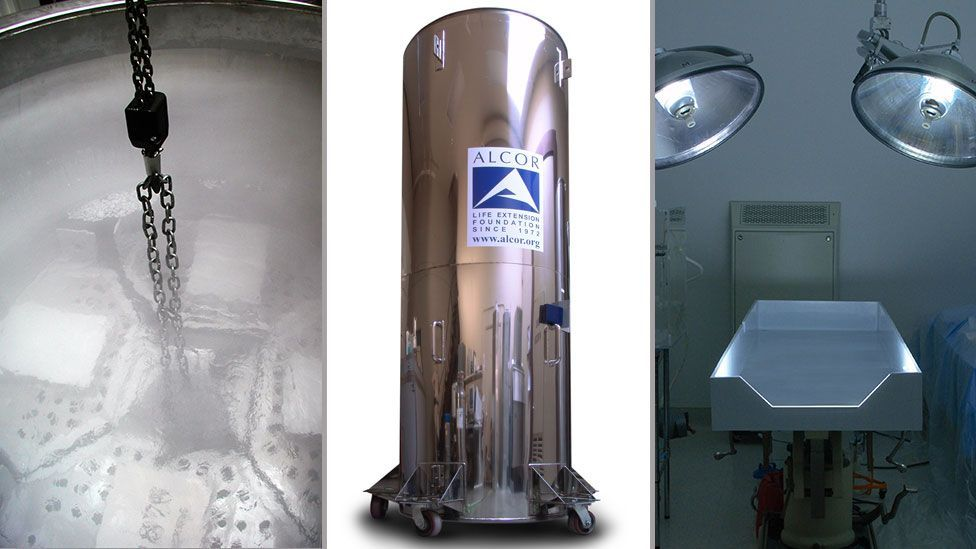 Groups of four are kept in refrigerators cooled by liquid nitrogen (middle and left), after treatment in the operating room (right) (Courtesy of Alcor Life Extension Foundation)