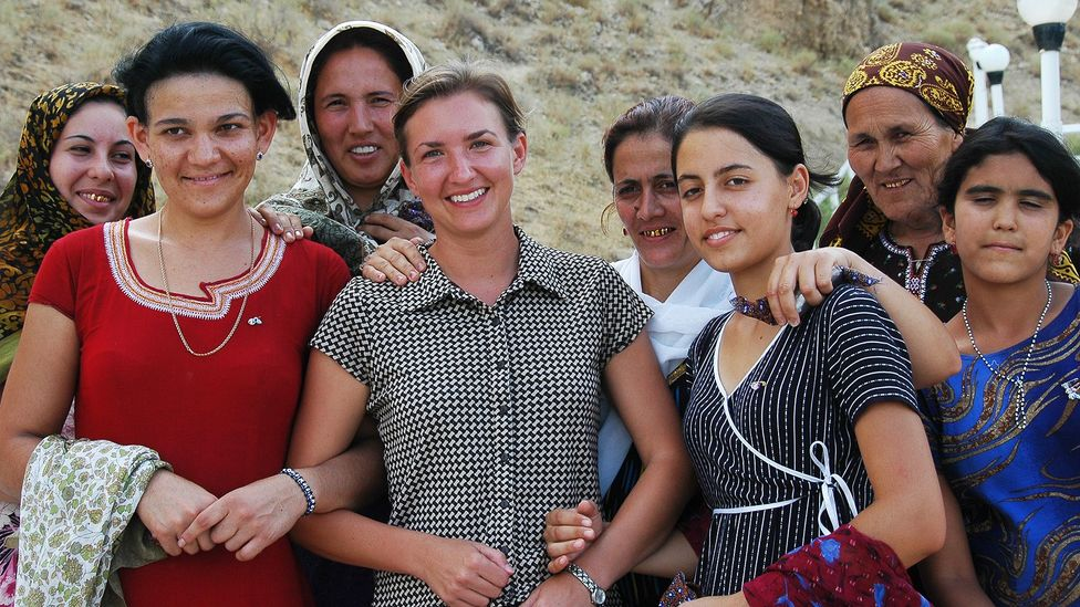 Audrey was befriended by a group of Turkmen women at the Paraw Bibi pilgrimage site. (Daniel Noll)