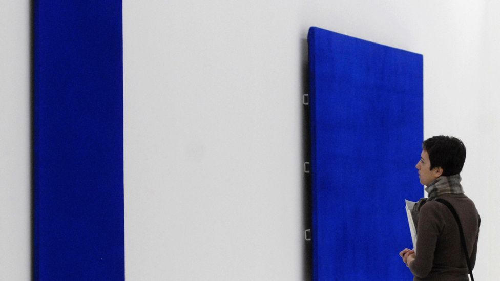 Yves Klein paintings on display as part of Blue Revolution exhibition at the Mumok Museum in Vienna in 2007 (Samuel Kubani/AFP/Getty Images)