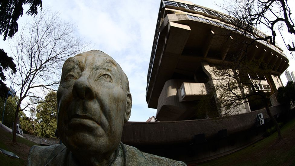 A statue of the author stands outside the National Library of Argentina. Borges became its director in 1955 (Corbis)