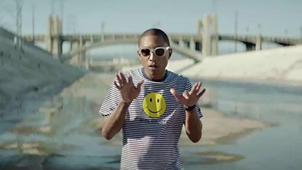 Pharrell Williams' song Happy is yellow with a hint of mustard and sherbet orange (Pharrell Williams: 24 Hours of Happy)