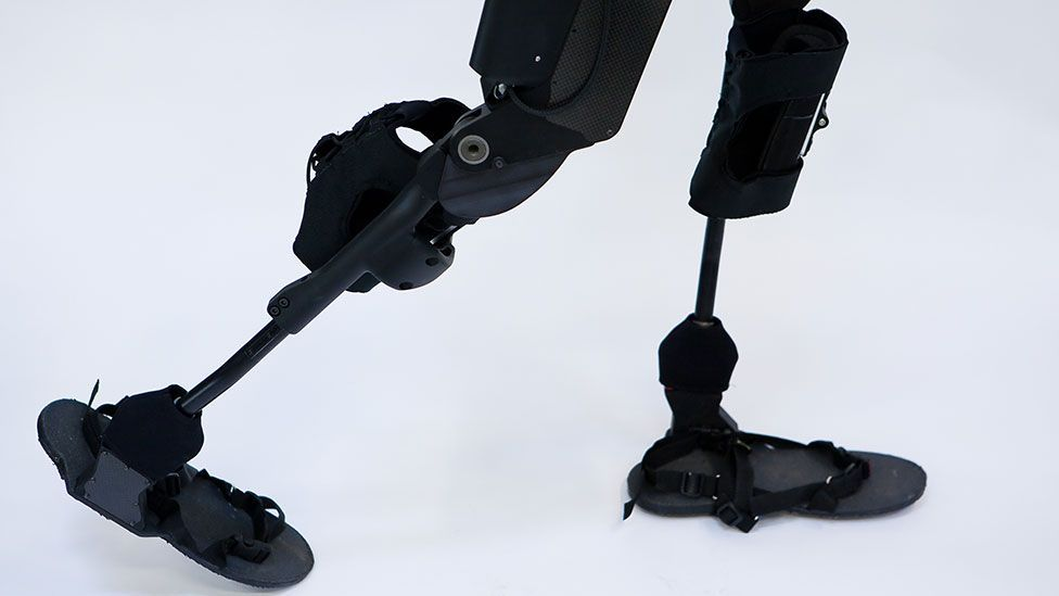 A pair of eLEGS, based on military technology and designed to help the paralysed walk again (Berkeley Bionics/Barcroft Media/Getty Images)