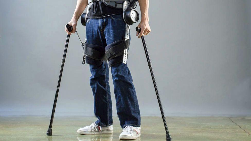 Daniel Fukuchi wears an exoskeleton that allows him to walk (Berkeley Robotics & Human Engineering Laboratory)