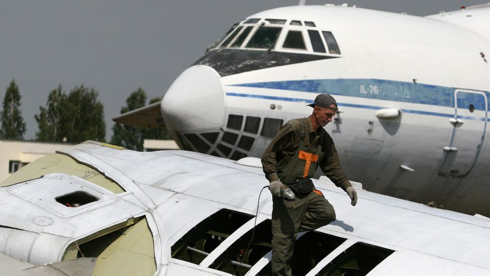 Some aircraft end their days being hacked to pieces to be sold as scrap, like these Russian-built Ilyushins in Belarus (AFP/Getty Images)