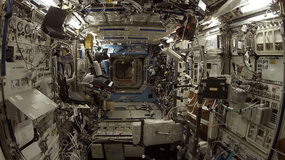 The interior of the International Space Station is far less futuristic than you might expect (Nasa)