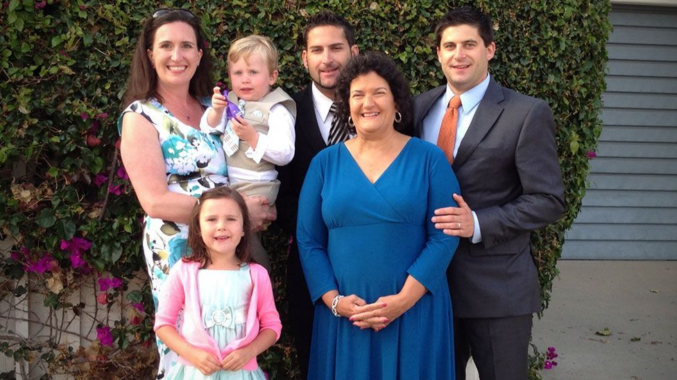 Fran Fulton, in blue, can perceive her family once again (Courtesy Fulton family)