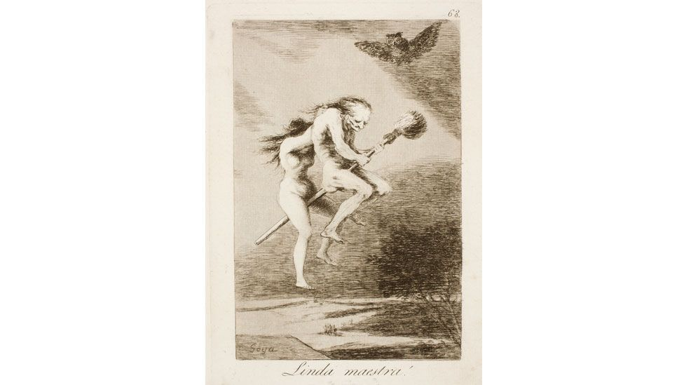 Los Caprichos is Goya's collection of 80 etchings from 1799 that use witches as vehicles for satire (Goya)