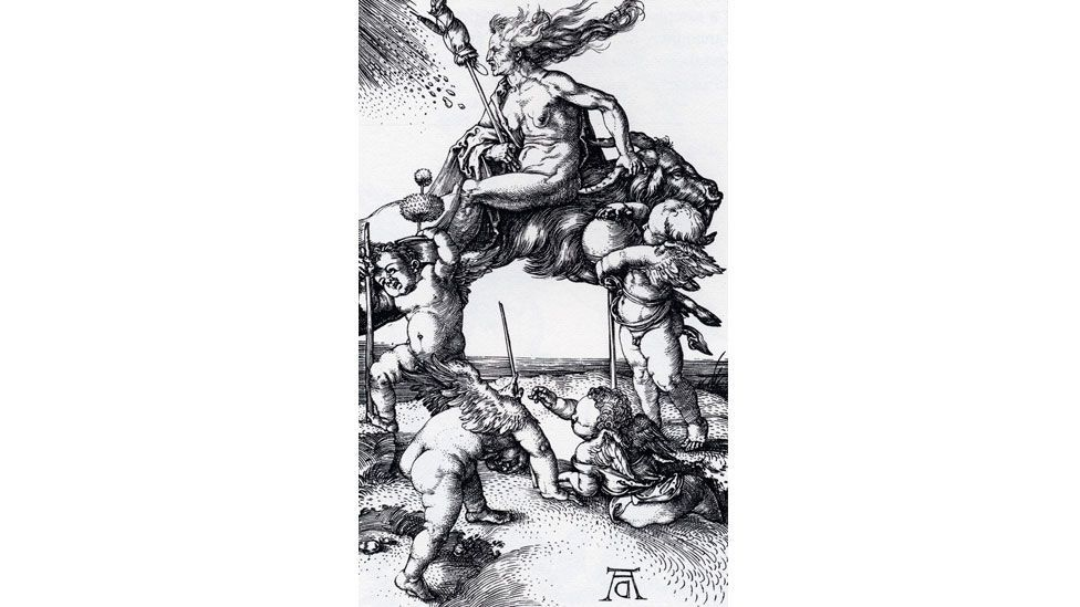 Another of Durer's etchings shows a witch riding backwards on a goat, with four putti (The Trustees of the British Museum)