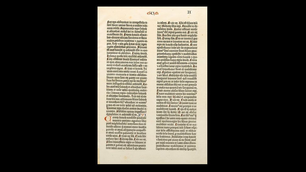 Books adding historical significance, like the Gutenberg Bible (1455), are among the most valuable. (Bonhams)