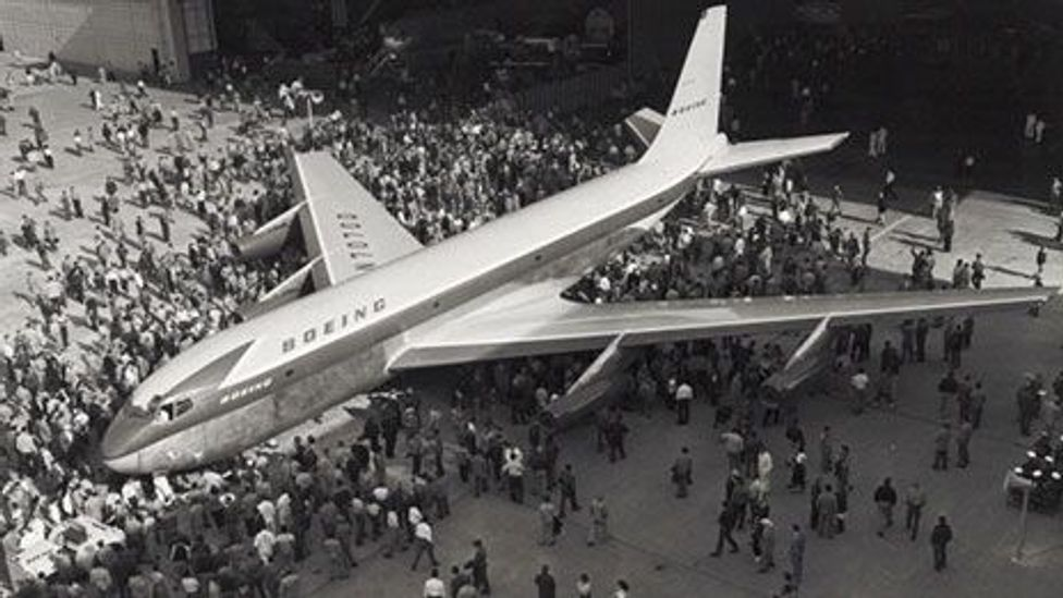 Boeing's 367-80, or Dash 80, the prototype of the 707,  made its maiden flight in July 1954. (Smithsonian Air and Space Museum)