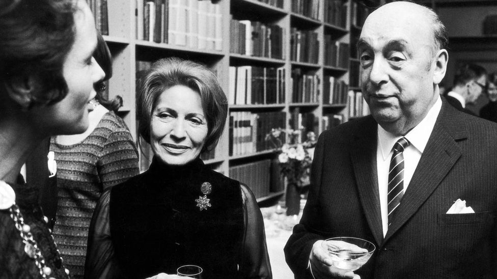 Pablo Neruda and his wife Matilda in Stockholm in 1971, after the poet won the Nobel Prize for Literature. (Keystone/Getty)