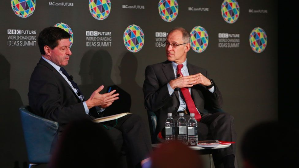 Jon Sopel and Ezekiel J Emanuel discuss life and death at the World-Changing Ideas Summit in New York on 21 October (Amy Sussman)