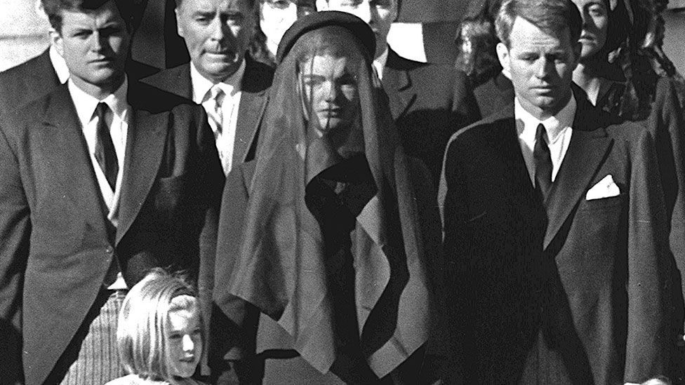 Jackie Kennedy's attire at the 1963 funeral of John F Kennedy was the quintessence of elegant widowhood (PIGISTE/AFP/Getty Images)