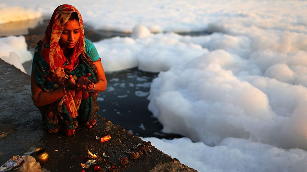Every day, more than 2,400 million litres of untreated sewage flows into the Yamuna river in India (Getty Images)