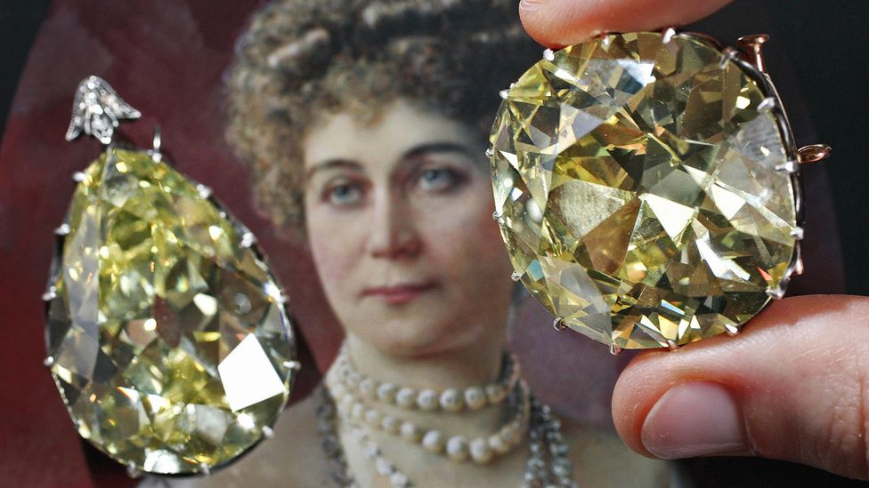 These yellow diamonds were worn by the celebrated courtesan La Paiva in the 19th century in Paris. (Fabrice Coffrini/AFP/Getty Images)