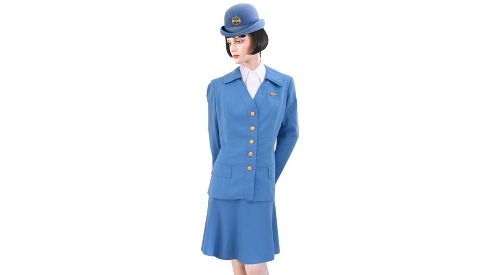 """""""Love the bowler hat with big Pan Am logo! This uniform came in two different colours: blue and beige."""""""
