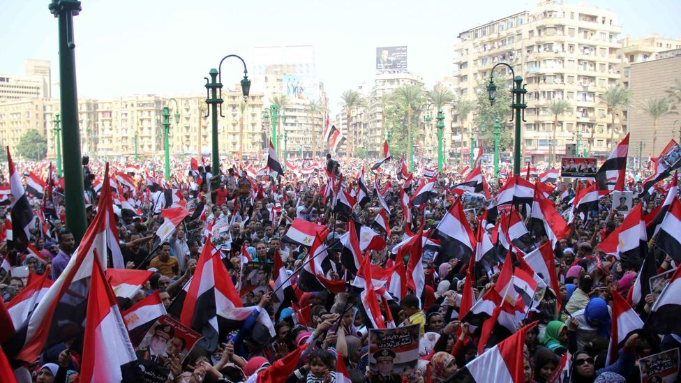 Tahrir Square in Cairo, Egypt, was the site of protests against both Hosni Mubarak and his successor, Mohammed Morsi (Getty)