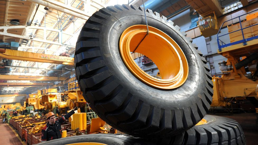 The huge trucks require equally huge tyres capable of helping them haul their giant payloads (AFP/Getty Images)