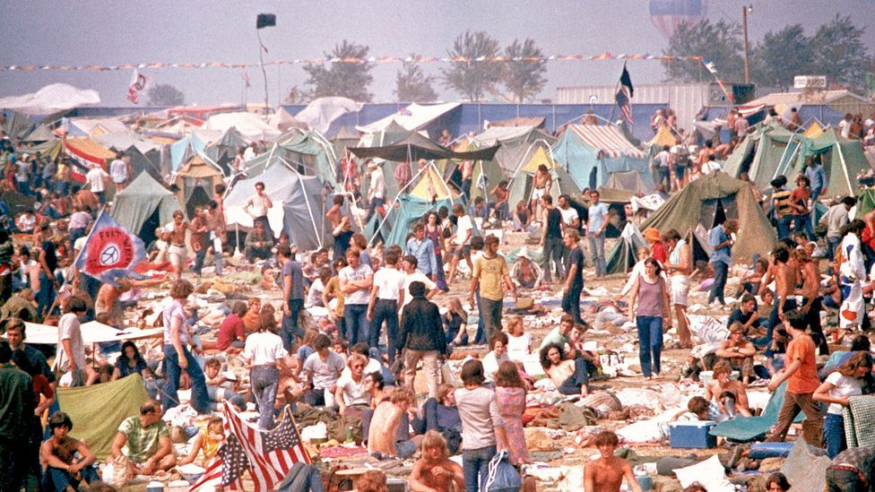 About 300,000 people attended the Altamont Free Concert on 6 December 1969 – four births and four deaths occurred (AP Photo)
