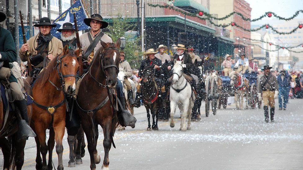 The parade rolls through Galveston, Texas (India Coleman)