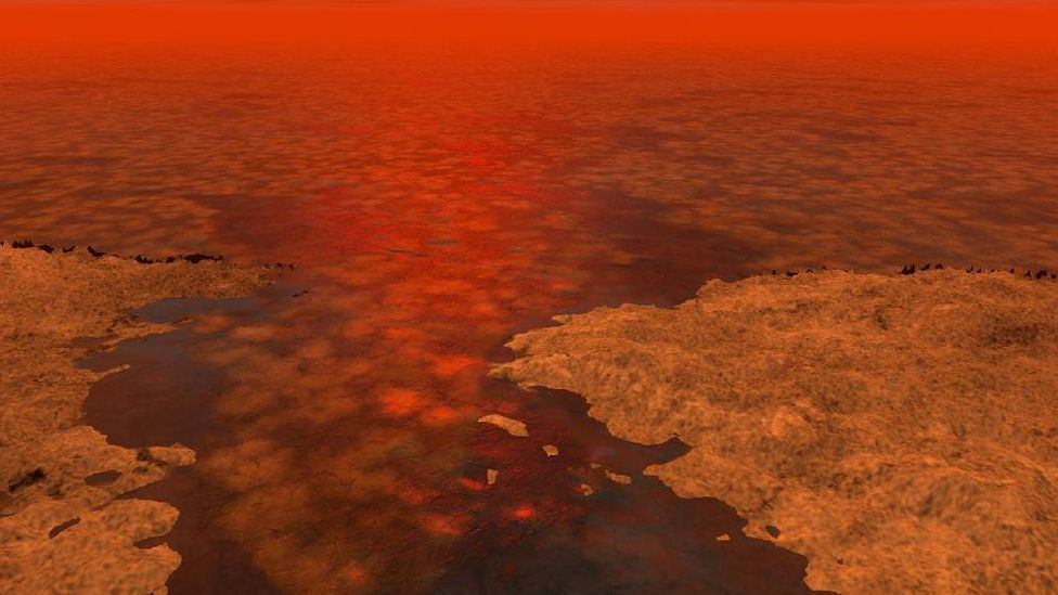 The seas on Titan are thought to contain floes of hydrocarbons - could they be harbouring simple life? (Nasa)