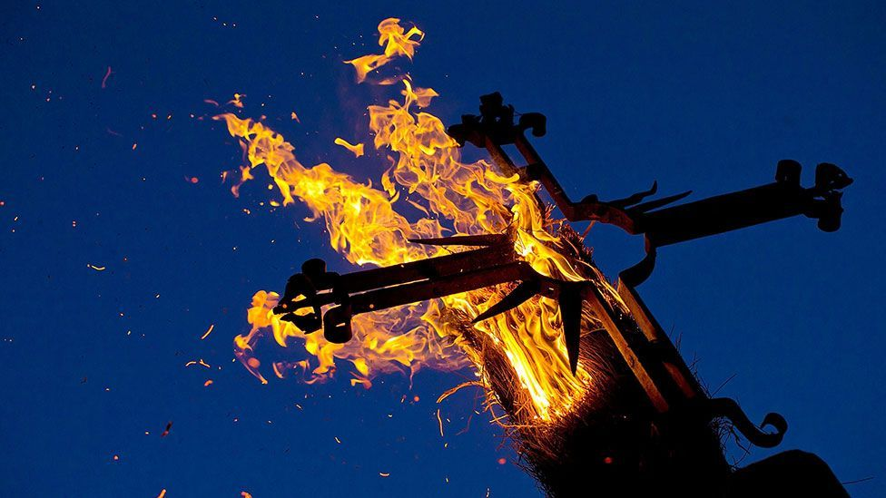 The lighting of a cross during the Christian Los Escobazos Festival in Spain, celebrating the conception of the Virgin Mary (Getty Images)