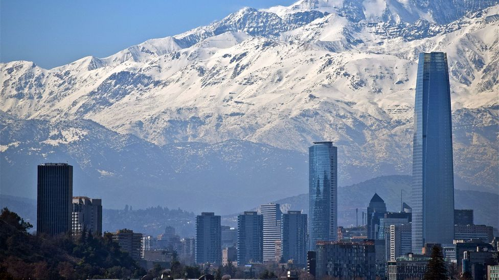Gran Torre, the largest building in Latin America, is dwarfed by the Andes mountains. (Mark Johanson)