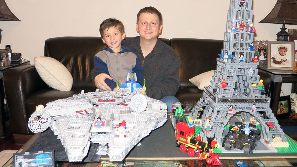 Tony De Marzio and his 5-year-old son Anthony love building Lego creations, like this Star Wars Millennium Falcon. (Tony De Marzio)