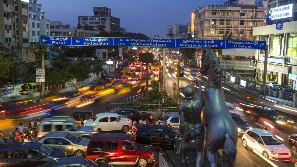 Night descends on Chennai. (Peter Adams/Getty)