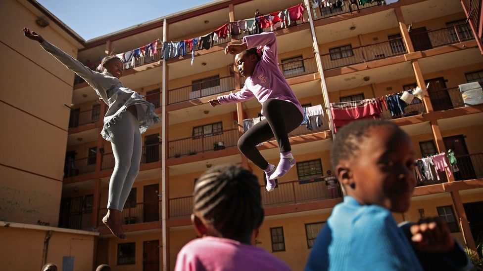 Catching air in Johannesburg's Alexandra Township. (Chip Somodevilla/Getty)