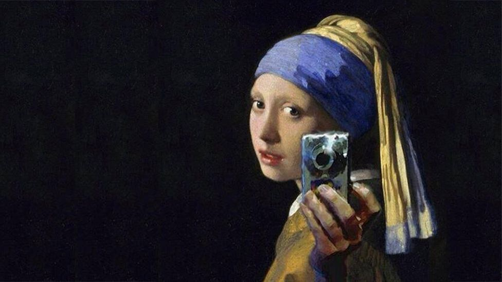 This mashup of Vermeer's Girl With A Pearl Earring by an anonymous artist went viral in 2012