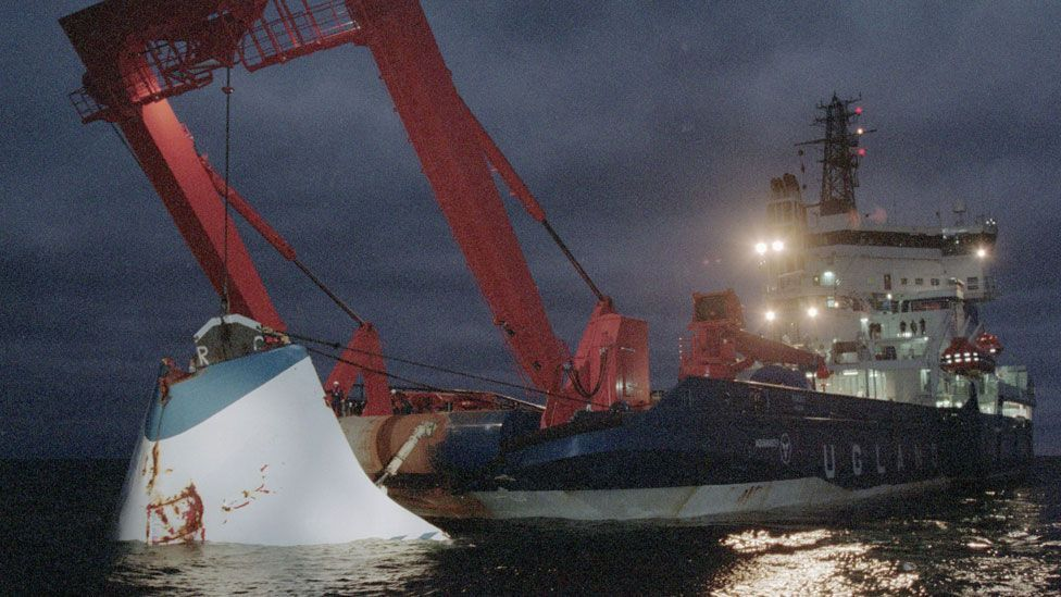 The bow of sunken ferry MS Estonia, on which more than 800 people died in 1994 (Getty Images)