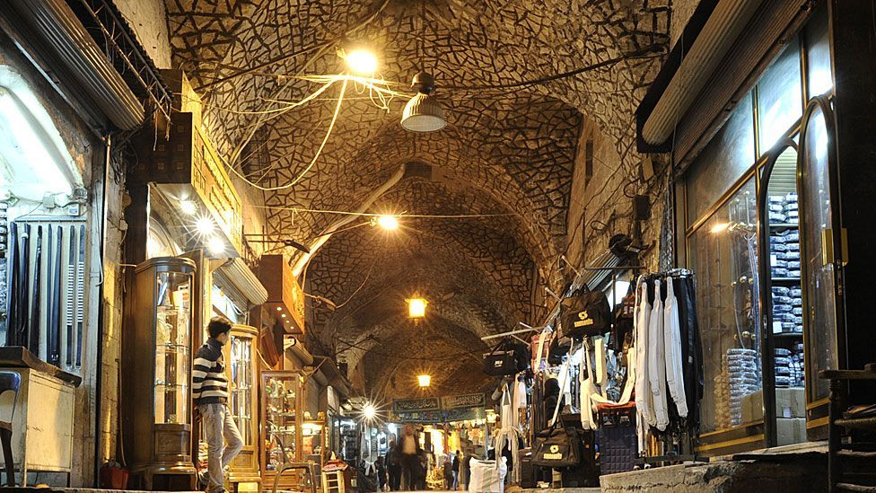 The Al-Madina Souq in the heart of Aleppo, its structure dating back to at least 1450, has been badly damaged in the current Syrian conflict (Getty)