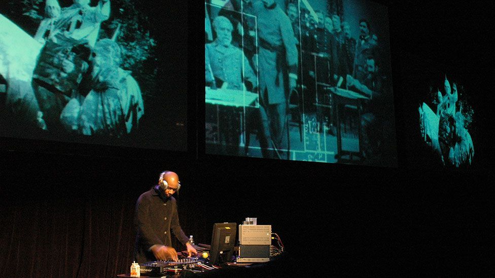 Experimental hip hop artist DJ Spooky recut Griffith's film as Rebirth of a Nation, with a new score he composed himself. (Museum of Contemporary Art, Chicago / Michael Raz-Russo)