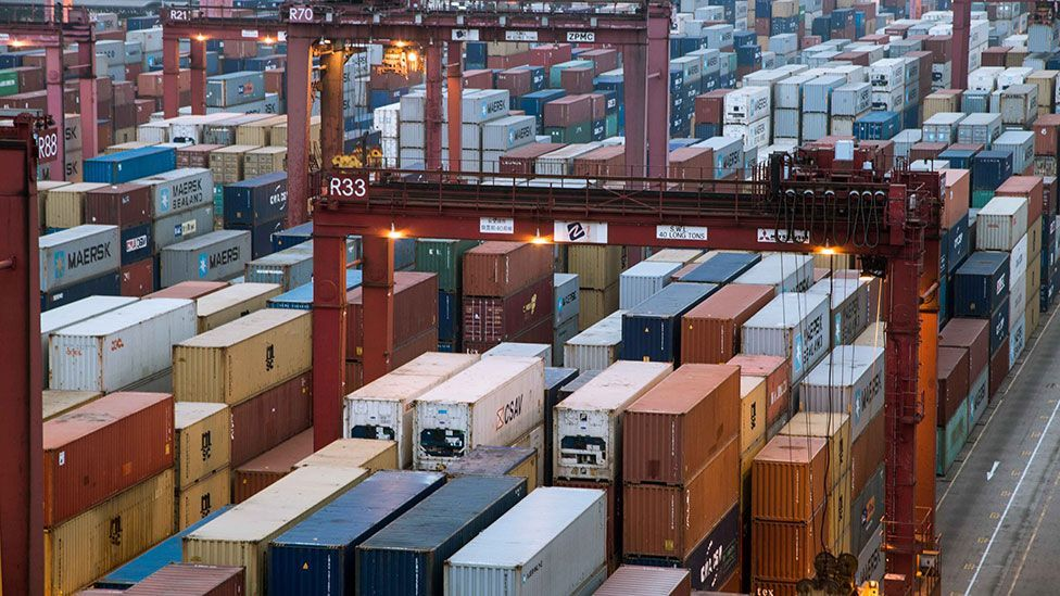 Containers are organised in place algorithmically, for efficient transport (Kate Davies/Unknown Fields)