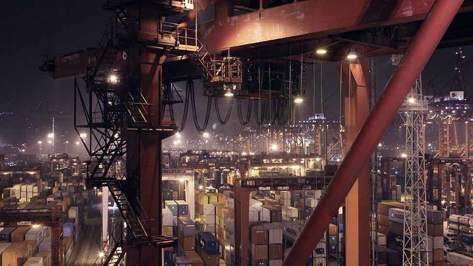 The artificial night of Hong Kong's container port (Liam Young/Unknown Fields)