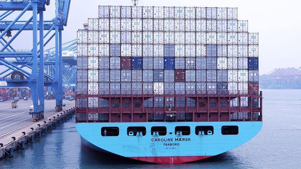 The fully-loaded ship 'Caroline' slowly pulls away from Ningbo port (Liam Young/Unknown Fields)
