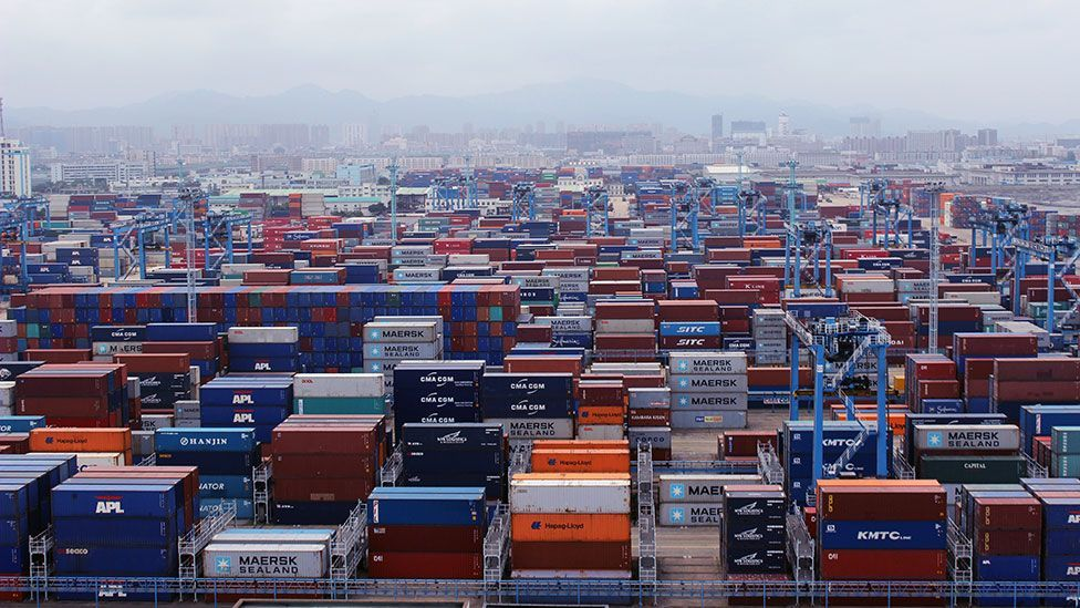 View of the container yard of Ningbo port from the deck of the Maersk Seletar (Liam Young/Unknown Fields)