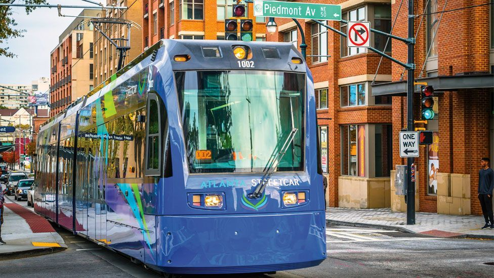 The Atlanta Streetcar, which connects points downtown, had its first ride in December (Credit: Lauren Holley)