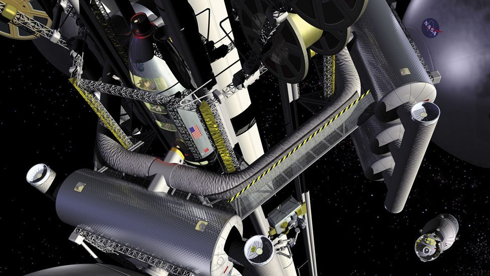 Could a space elevator one day take tourists far above the Earth? (Nasa)