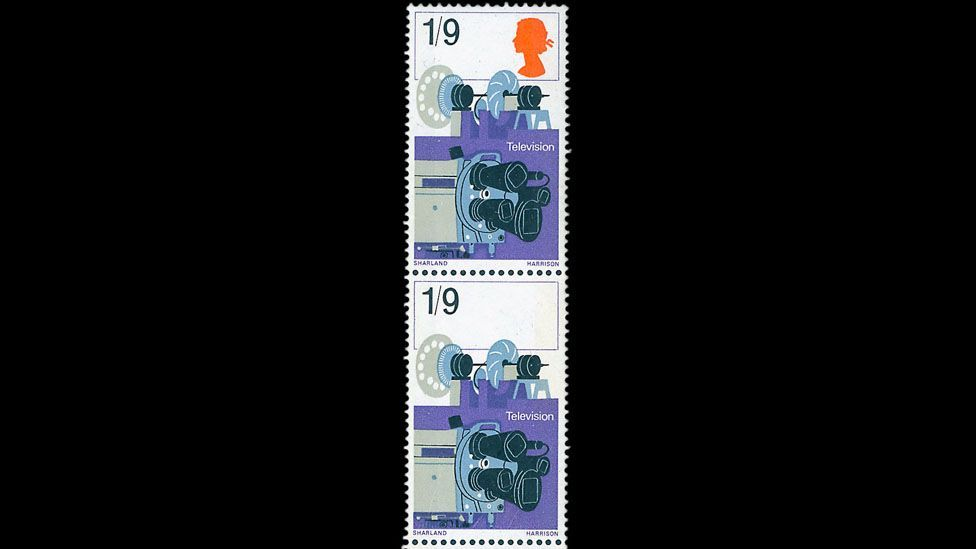 The headless stamp (bottom of pair), known as SG 755b, may be the only one in existence and is missing the silhouette of Queen Elizabeth II. (Credit: Warwick & Warwick)
